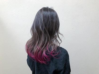 カラー セミロング 裾カラー ピンクカラー 裾カラーピンク