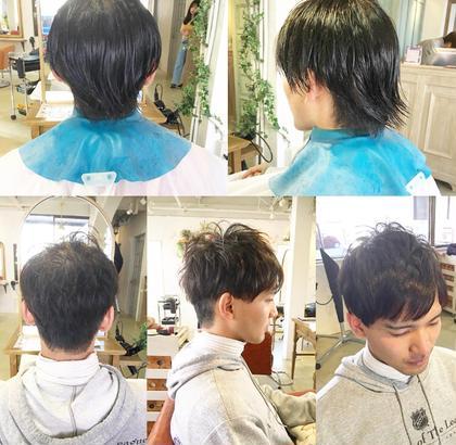 おまかせカット! 伸びきった髪の毛をサイドとバックは刈り上げて すっきりトップはフワッとさせたスタイルになりました! 渡邉佳代のメンズヘアスタイル・髪型
