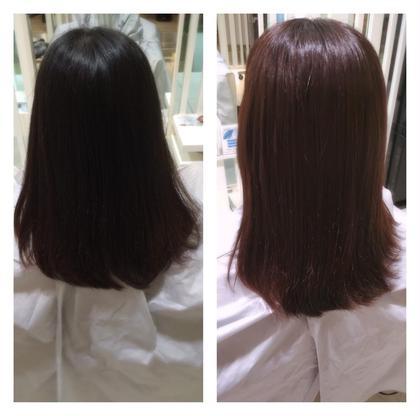 縮毛矯正を繰り返す彼女。でも明るくしたいというオーダーでした。秋も近いということでレッド系でトーンアップ✨ ila所属・omokazushiのスタイル