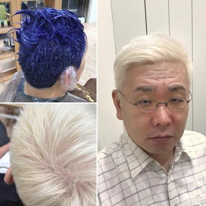 その他 カラー ショート 【ムラシャンカラー】 ブリーチ×2回は必要ですが、真っ白なホワイトブリーチは年代問わずおススメです。 色を入れるのはカラー剤ではなく、カラーシャンプーで色味を入れるので安心安全で刺激や痛み、ダメージはありません!!  最近は白髪が増えてきた年配男性の需要が上がってきています(所ジョージさん、松っちゃん、小堺さん、も同じようなカラーです)