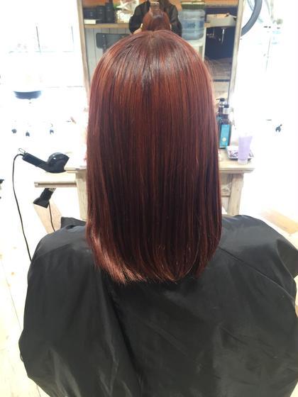 赤!!! 暗めの髪でもカラー剤でできる限り赤くしました!  creed所属・オダヒナコのスタイル