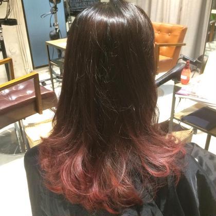 【レッド×オンブレカラー】 ブリーチ、カラー ¥8,000 grace hair dressing所属・宮澤北斗のスタイル