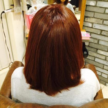 赤とピンクの色味をしっかりと入れたカラーリングです* 暖色系カラーは得意ですのでお任せください!!(^o^) aile Total Beauty Salon 生駒店所属・大谷優佳のスタイル