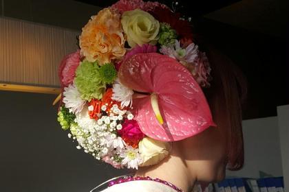 成人式。全て生花で、華やか❗ FLOWER HAIR所属・田中K吉のスタイル