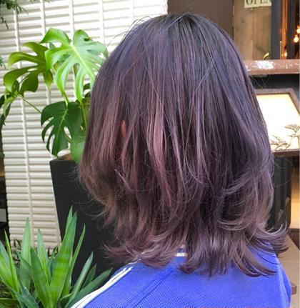 カラー  【 グラデーション × イルミナカラー 】  ほんのり ピンク を入れた ラベンダーカラー ♪