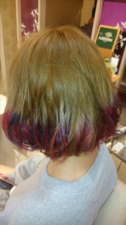 ダブルカラーで毛先にピンク系で春らしいスタイル BENI hair&make所属・ツジヤスユキのスタイル