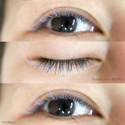 Sky blue  ⸜❤︎⸝  Lavender  スカイブルーメインに ハイライトでラベンダーを少し。  パステルカラーかわいい🥺🥺  100本なのにこの存在感◡̈*.。  最近髪色と合わせる人とても多い!!  ありがとうございますー!!     Design Gorgeous  9,10,11mm/ C Curl/ 0.15mm  Sky blue, Lavender mix