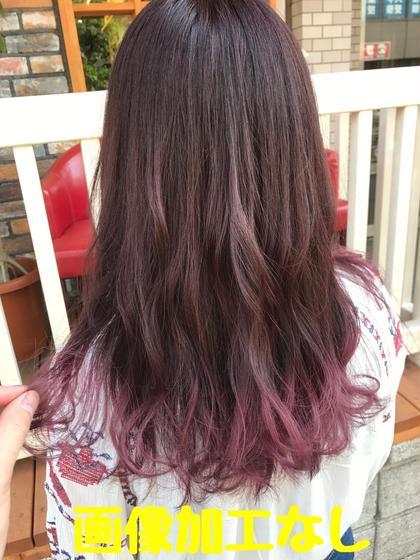 カラー セミロング ピンクパープル 毛先のみブリーチ それに繋がるようにカラーしました!