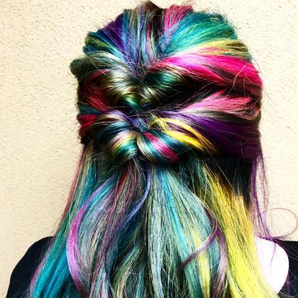 その他 カラー キッズ セミロング ネイル パーマ ヘアアレンジ マツエク・マツパ メンズ rainbow   arrangeしたよー‼️