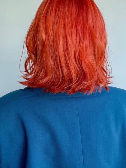 カラー ビビッとオレンジ 色落ちしても可愛いです😍 人と少し差をつけたいならビビッとカラーにしましょう!