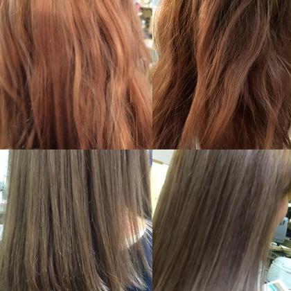 ビフォーアフター写真です。ピンクが抜けてオレンジになった髪から一回のカラーでアッシュカラーにチェンジです!調合がポイントのカラーです。イメチェンですね。 Pina大久保所属・いわさとかほのスタイル