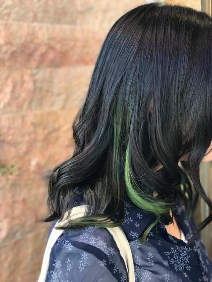 インナーカラー(パステルグリーン) HAIR&MAKE EARTH 南福島店所属・下條真のスタイル