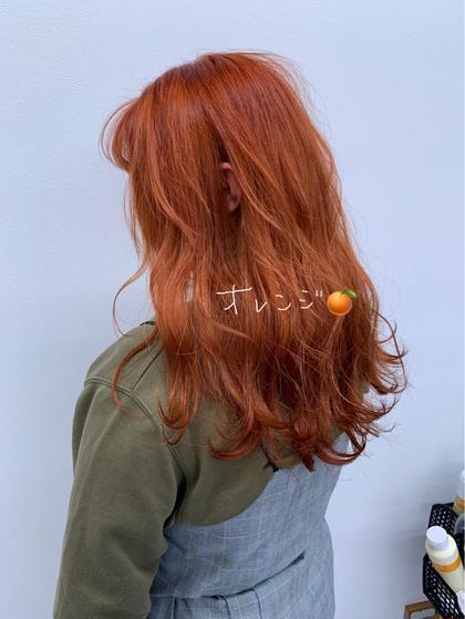 カラー セミロング #オレンジカラー#オレンジヘアー