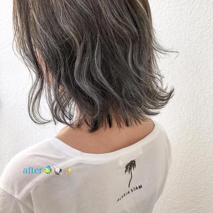 カラー ミディアム ホワイトハイライト♡切りっぱなしbob