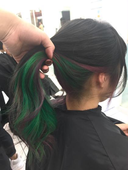 カラー セミロング デザインカラー・インナーカラー グリーン&パープル&ネイビー