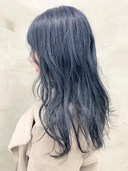 ダークブルー🦋 明るい髪に飽きたらぜひ! #ブリーチ#ブルーブラック#ダークブルー