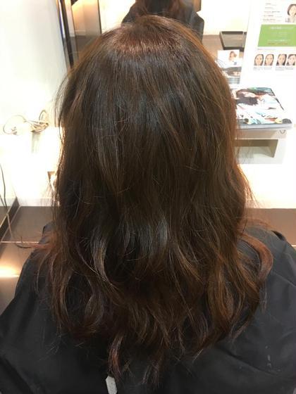カラー セミロング ロング 黒染めをブリーチonカラーとグラデーション