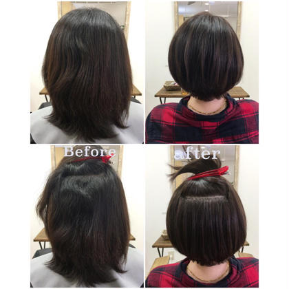 【デザインする縮毛矯正のbefore、after】 beforeはクセが強く、カットや通常の縮毛矯正だけではスタイルになりません。 仕上げはノンブロー、乾かしただけです♪ AINEE所属・小沢秋義のスタイル