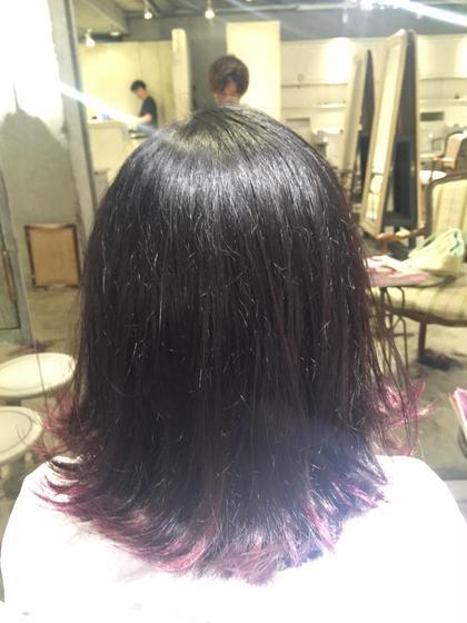 切りっぱなしボブ(^^)  前回のグラデーションカラーを毛先だけ残して外ハネしたらオシャレ感UP\(^o^)/ サンティエ所属・あおいちゃんのスタイル