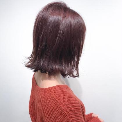 【ローズベリーカラー】  赤み系にほんのり紫の混ざった、ローズベリーカラー♪  ブリーチなしのワンカラーの髪色です!   インスタグラムで、その他スタイル更新してます。 気に入ったスタイルは保存しておいてもらうと カウンセリングがスムーズです☆  instagram→@hayatoniwa