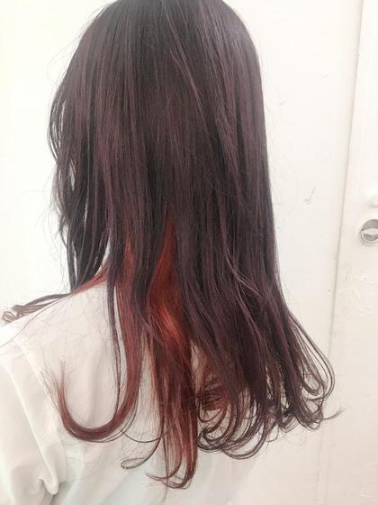 カラー 紫とインナーカラーピンクレッド