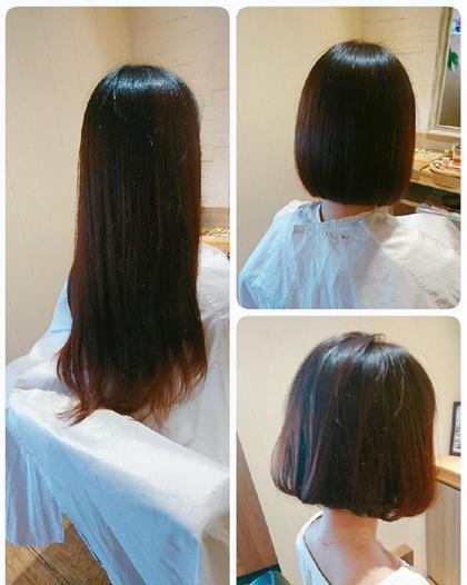 ばっさりカットしてヘアドネーションで髪の寄付♪ ばっさり切る前に是非ご相談下さい♪ Kizuna所属・岡田 愛実のスタイル