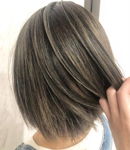 似合わせカット&ケアブリーチ入りメリハリW3Dハイライト&艶カラー+髪質改善トリートメント