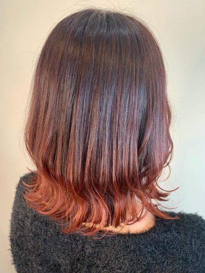 人気のチェリーレッドカラー♪  グラデーションベースにしてあるので毛先にしっかり色味が入ります!