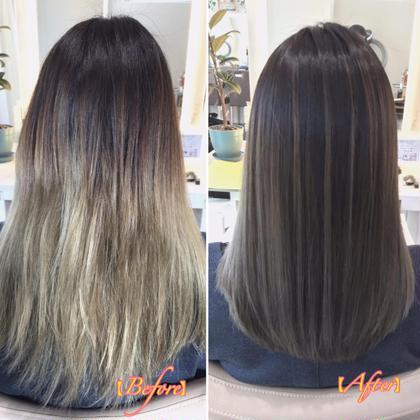 【ハイライトグラデカラー✖️髪質改善】ケアブリーチハイライトグラデ+髪質改善+カット