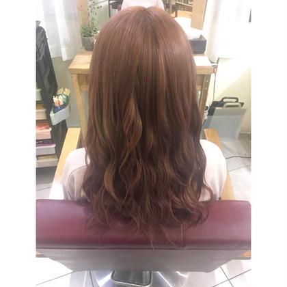 ❤︎ ピンクブラウン 11トーン ❤︎ 長南磨依のセミロングのヘアスタイル