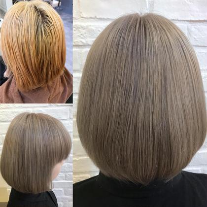 カラー ショート ミルクティーベージュ✨ ブリーチを2回している髪。セルフでムラのある髪。 明るめのトーンで綺麗なミルクティーベージュ🌟