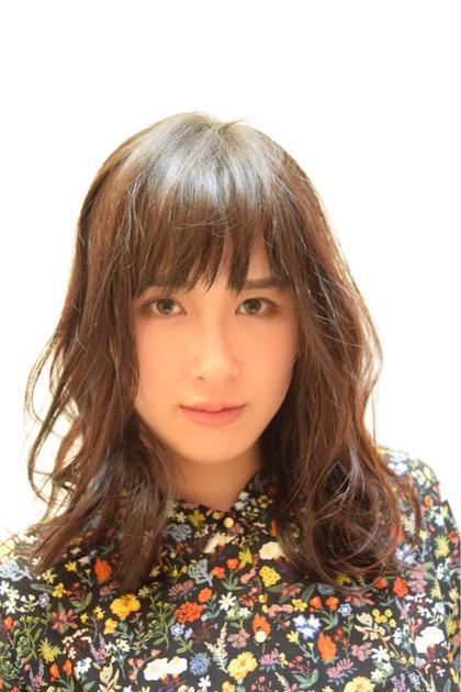 ナチュラル巻き セミロング秋カラー☆ spin hair 桂所属・上野恵美のスタイル