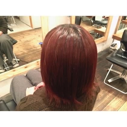 hair color! dark red 根元の黒を残した深みのある赤髪。 PLUS ONE DESIGN所属・林宏幸のスタイル