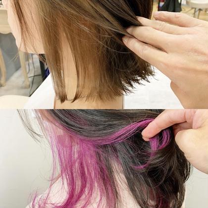 《✨まわりとは違う髪型に✨》インナーカラーダブルカラー+カット  +前処理トリートメント コテ巻き仕上げOK