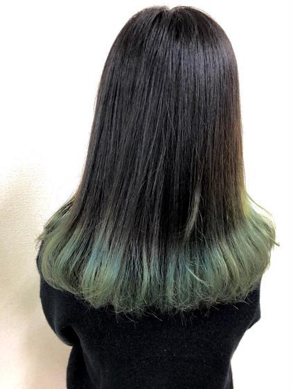 裾カラー ライトグリーンカラー Leetwice阿倍野店所属・青山広和のスタイル