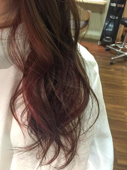 カラー ロング 秋カラー♡ベースはアーモンドショコラでインナーにラズベリーピンク♡巻いたときにちらっとみえるかんじがかわいい♡♫