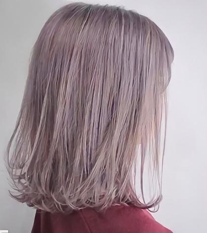 【芯から透ける髪へ】ダブルブリーチ(2回ともケアブリーチ)+全体フルカラー+水飴シルクトリートメント【トリプルカラー】