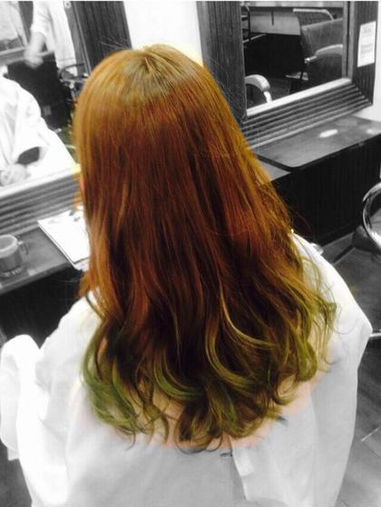 カラー セミロング ライムグリーンのグラデーションカラーです♪