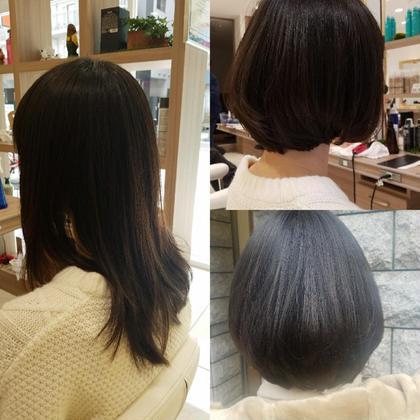 ロングからバッサリとスタイルチェンジ。 ロングレンジのボブ 長めなレンクズが幼くなりすぎず、大人な、雰囲気をもてる。ツヤ感もあり重すぎず少しの段差と間引いてあるので軽さも感じます☺ どなたでもチャレンジしやすいスタイルです。  パーマクセがある方は自然な仕上がりの縮毛矯正がおすすめです! ストレートな髪の方は、毛先のニュアンスパーマをいれると尚良いです❄ GOTODAYS 横浜店所属・加藤たかしのスタイル