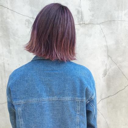カラー ショート セミロング ヘアアレンジ ミディアム ブルーベリーアッシュ カット+カラー4500円