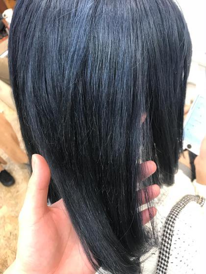 カラー ミディアム ネイビーなヘアカラー!! 色落ちがグレーになりとても綺麗!!