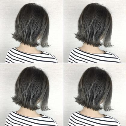 切りっぱなしボブ×グレージュ 石川慧南のミディアムのヘアスタイル