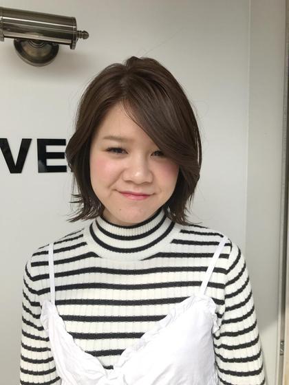 カラー 前髪長めの外ハネボブ☆