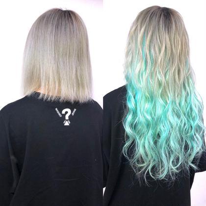 夏先取りのカラー♪なかなか地毛ではキープできない色をエクステで♪シールエクステにも原色カラーご用意してあります☆  アプリ登録のお客様は仕上げの巻き髪無料サービス♪