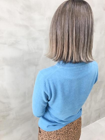 カラー ハイトーンカラー グレージュは色落ちも綺麗🌈 #切りっぱなしボブ#ダブルカラー#ブリーチ