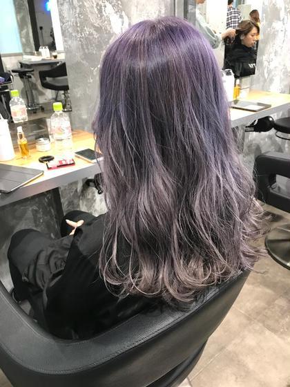 ラベンダーグレー⭐️ カラー人気NO.1奥利洸元のセミロングのヘアスタイル