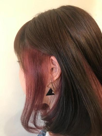 インナーカラー☆ 耳にかけたりアレンジしてチラッと見える インナーカラーがかわいいっ! 鮮やかなカラーの場合はブリーチが必要になります。 EARTH宇都宮インターパーク所属・渡辺ちせのスタイル