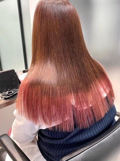 カット+ポイントブリーチカラー+毛髪内外部補修トリートメント(ロング料金+¥1,000)