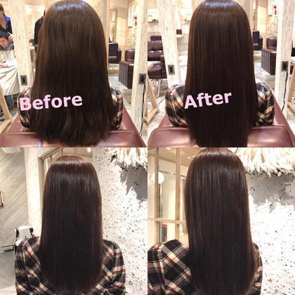 ロング キラ髪縮毛矯正とTOKIOトリートメントのメニューです。 施術前に炭酸泉もしたので艶々サラサラになりました(^^)