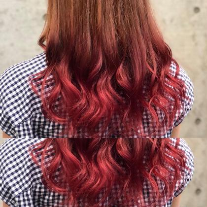 その他 カラー ロング 毛先ブリーチ後カラーで赤髪グラデーションカラーに🍎